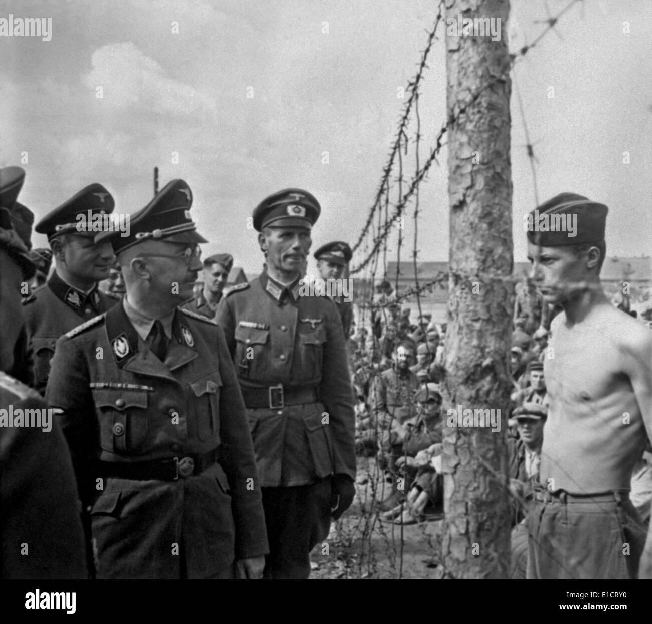 Heinrich Himmler, Head Of The Nazi SS, Inspects A Prisoner