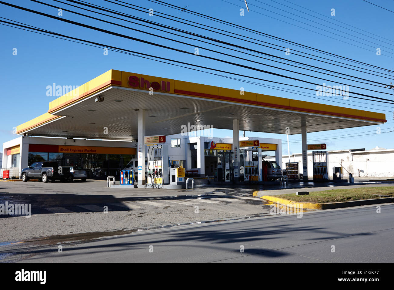 shell gas petrol service station punta arenas chile stock photo royalty free image 69822459. Black Bedroom Furniture Sets. Home Design Ideas