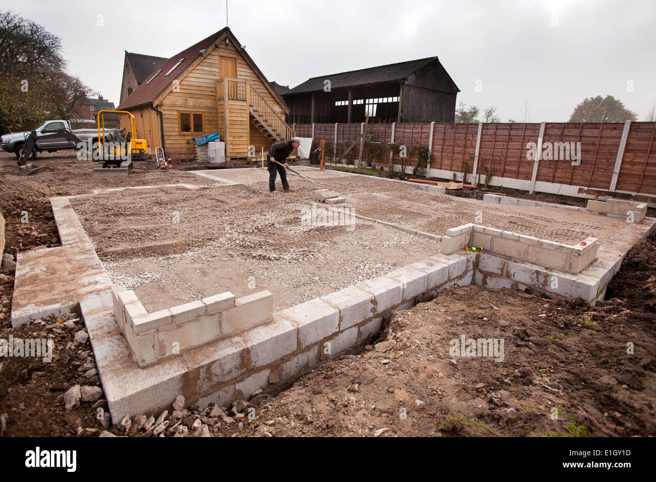 Self building house levelling foundation infill with for Different foundations