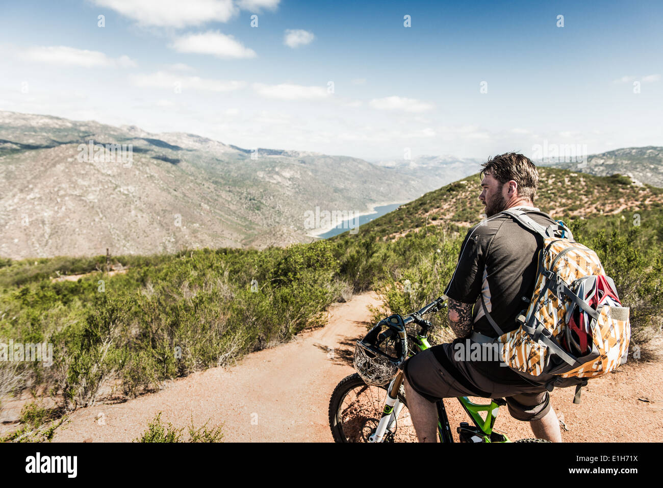 Downhill mountain biker looking at view Stock Foto