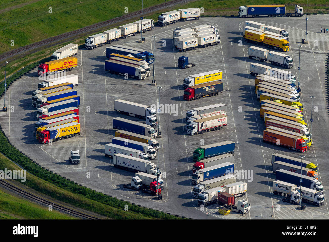 aerial view truck parking at ikea logistics center ellingshausen stock photo royalty free. Black Bedroom Furniture Sets. Home Design Ideas