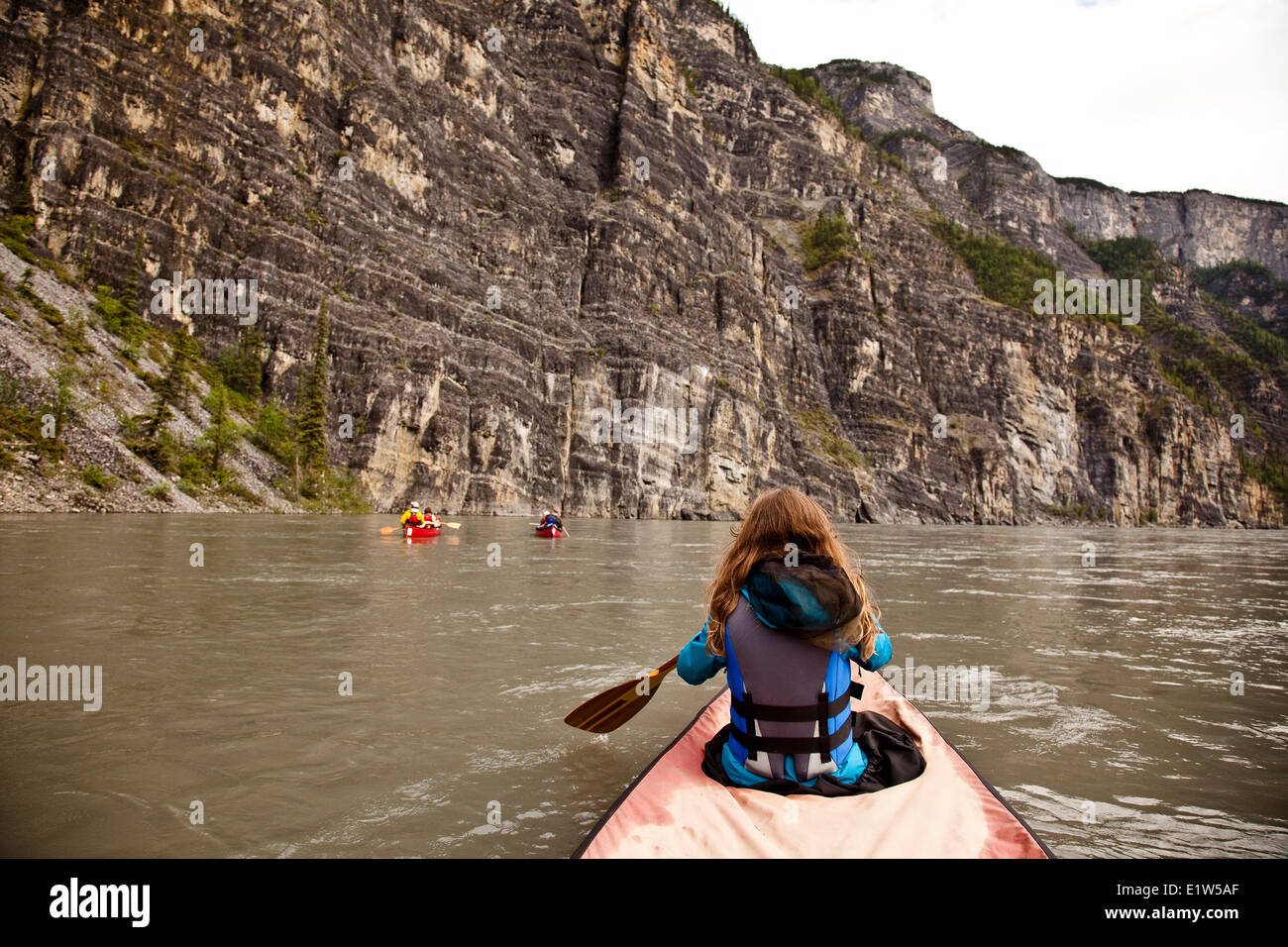Three Canoes In First Canyon On Nahanni River Nahanni