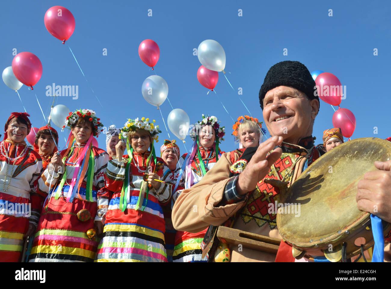 Ukrainian folk costumes Stock Foto