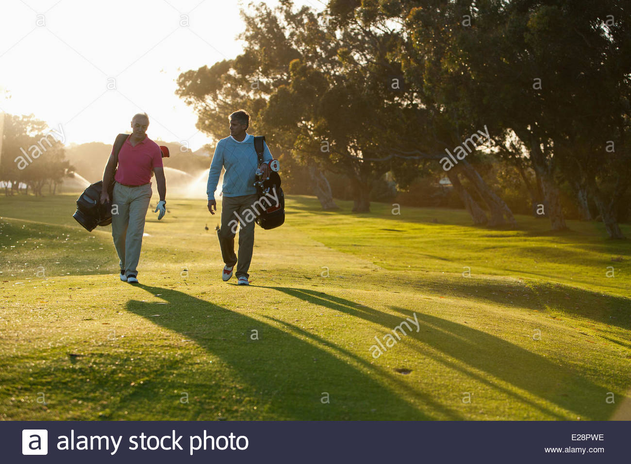 Men carrying golf bags on golf course Stock Foto