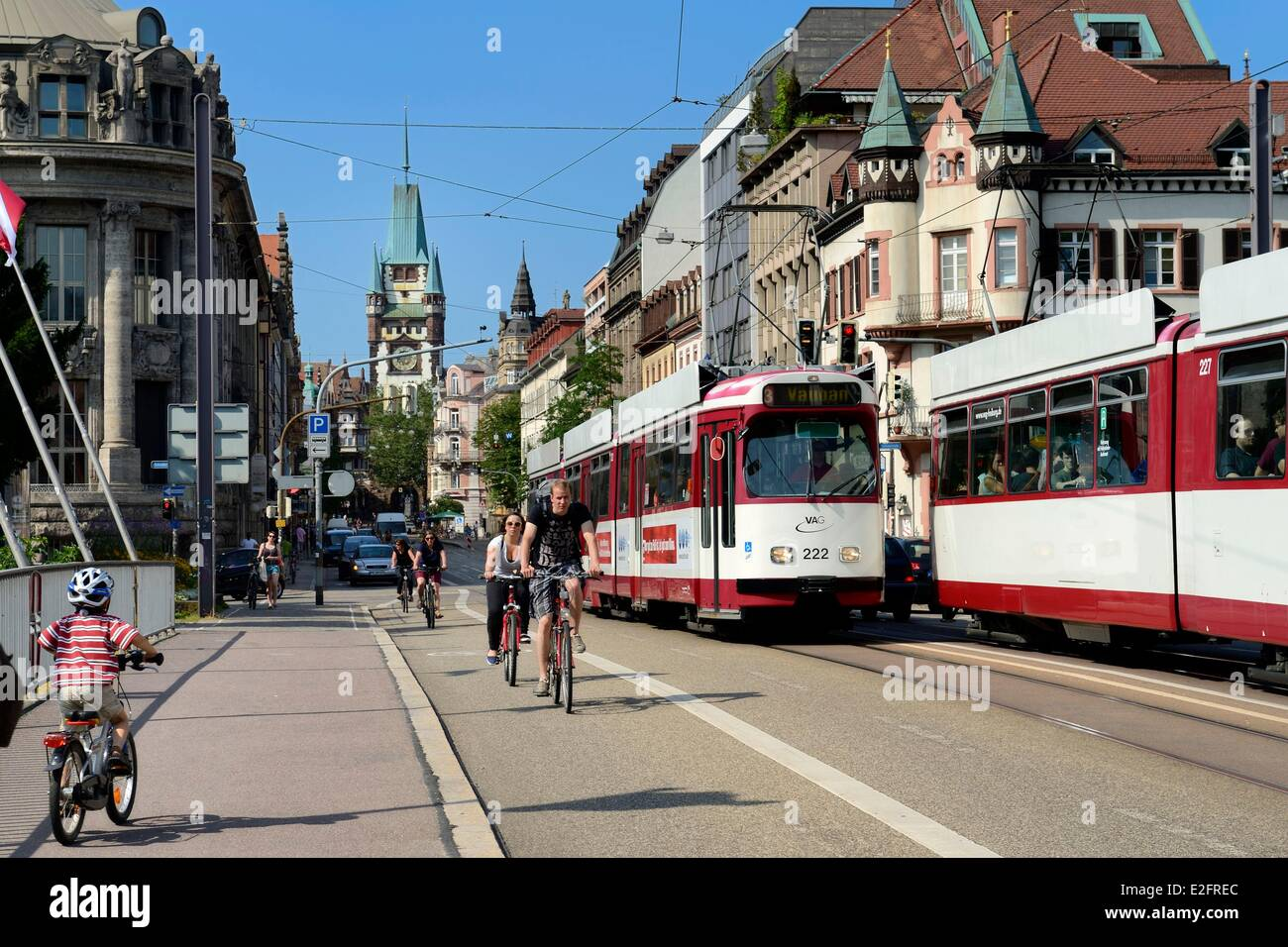 germany baden wurttemberg freiburg im breisgau tram on the street stock photo 70418500 alamy. Black Bedroom Furniture Sets. Home Design Ideas