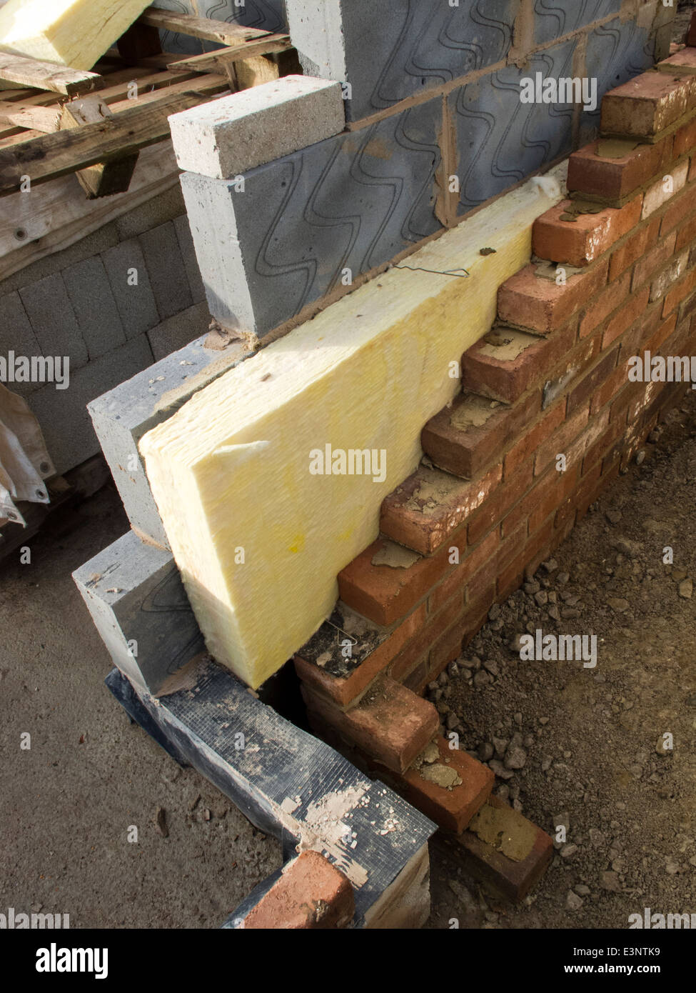 Self Building House 100mm Insulation In Walls Built From Thermalite Stock Photo Royalty Free