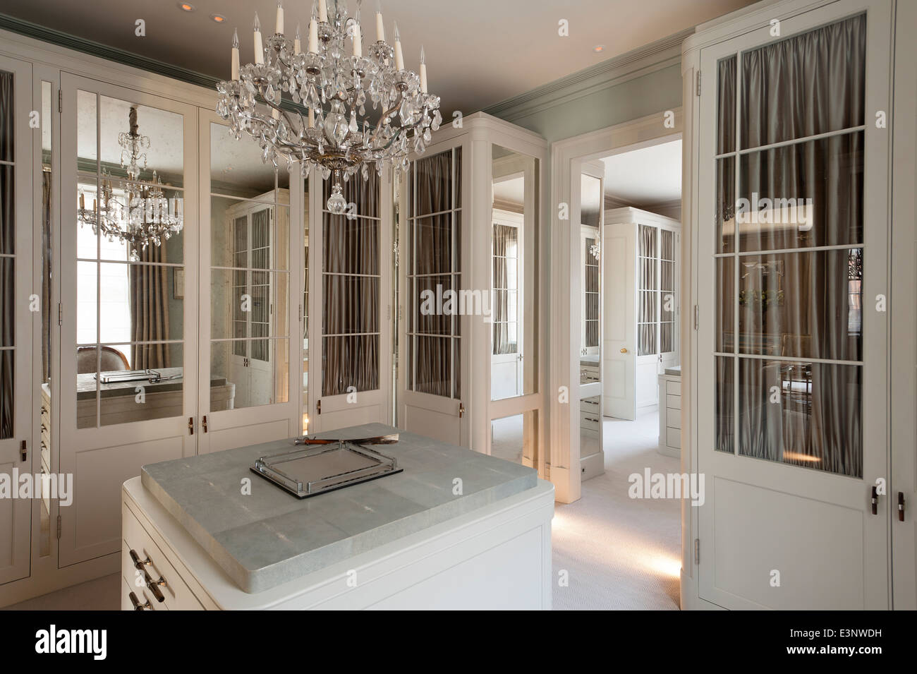Cut Glass Chandelier In Dressing Room With Glass And