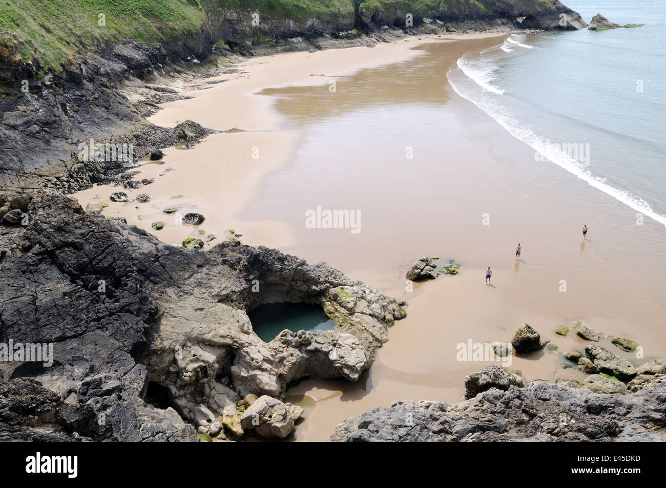 Blue Pool Bay on the West of Gower near Rhossili Llangenith Wales Stock Photo