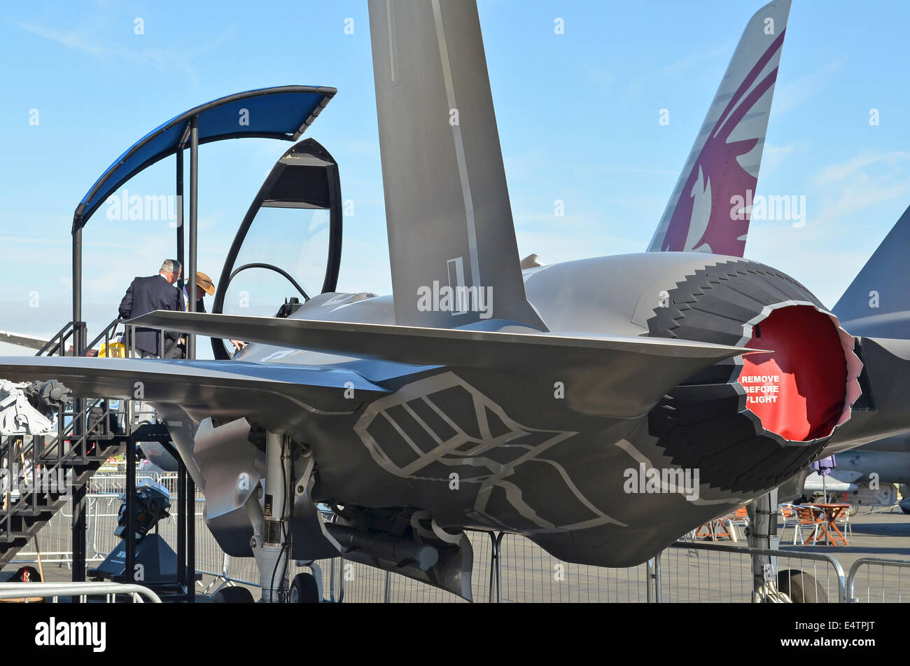 Farnborough, Hampshire, UK. 16th July, 2014. Visitors to the 2014 Farnborough Airshow were disappointed to find Stock Photo