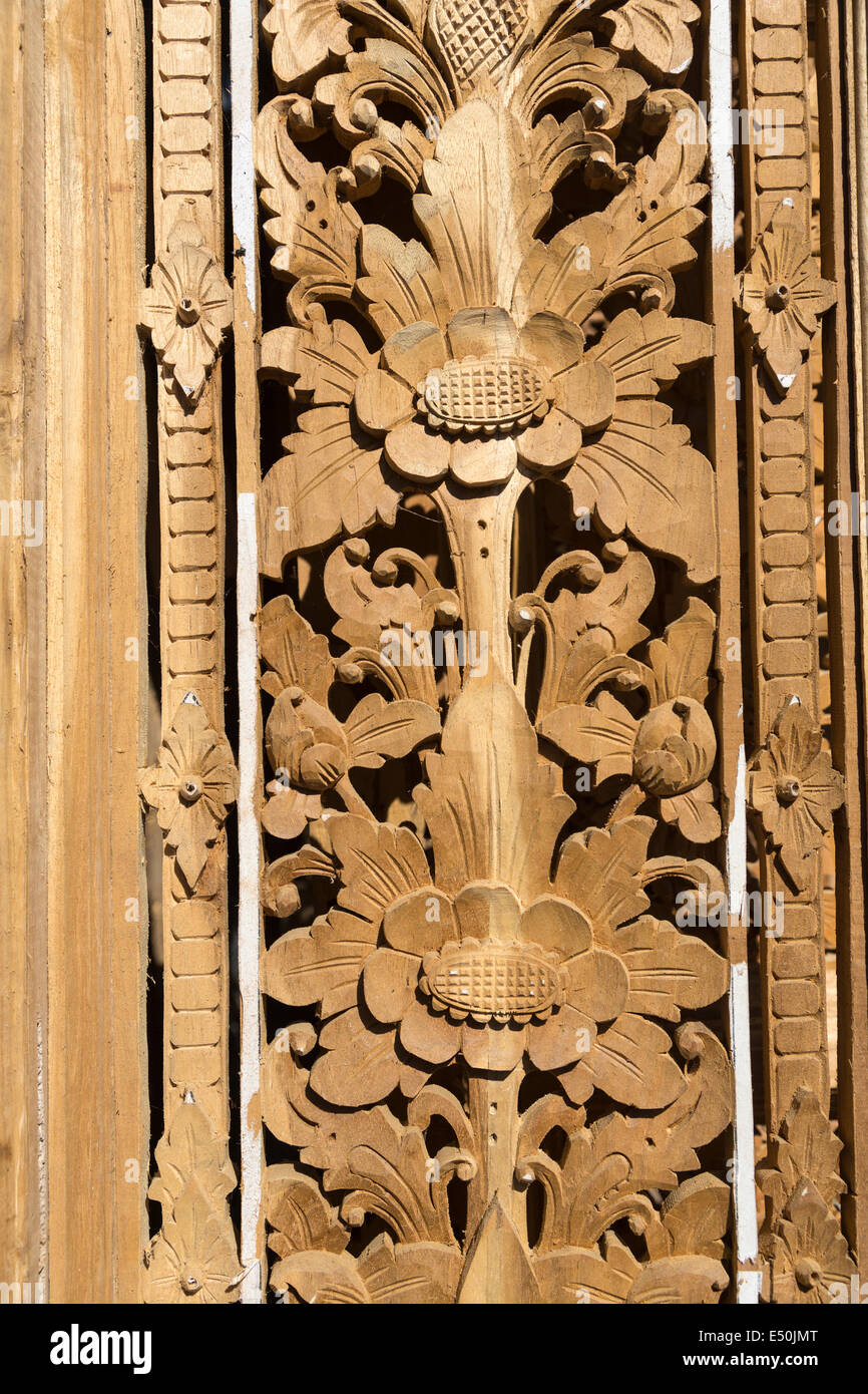 Bali indonesia wood carving floral design in decorative