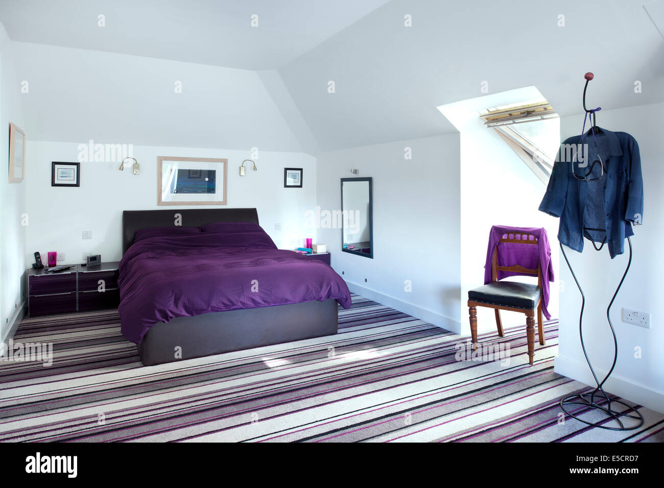 Master Bedroom With Striped Carpet In Uk Home Stock Photo Royalty Free Image 72196579 Alamy