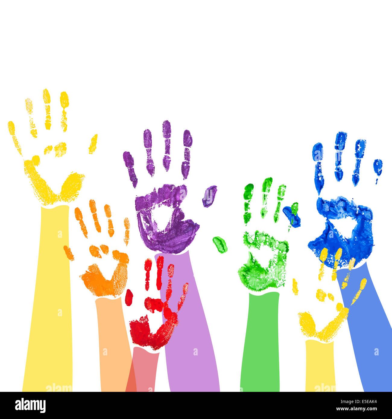 Abstract background with bright multicolored paint hand prints Stock Foto