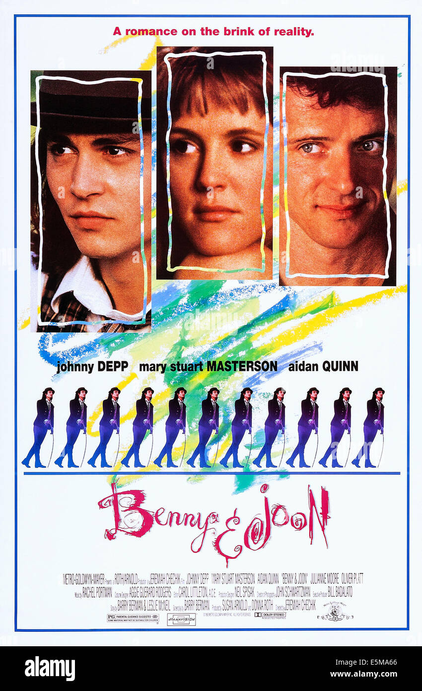 BENNY AND JOON, top l-r: Johnny Depp, Mary Stuart Masterson, Aidan Quinn, bottom: Johnny Depp on poster art, 1993, Stock Photo