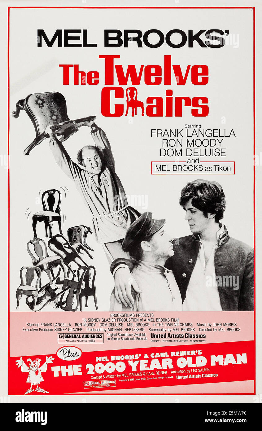 THE TWELVE CHAIRS, US poster art, from back left: Dom Deluise, Mel Brooks, Frank Langella, 1970 Stock Photo