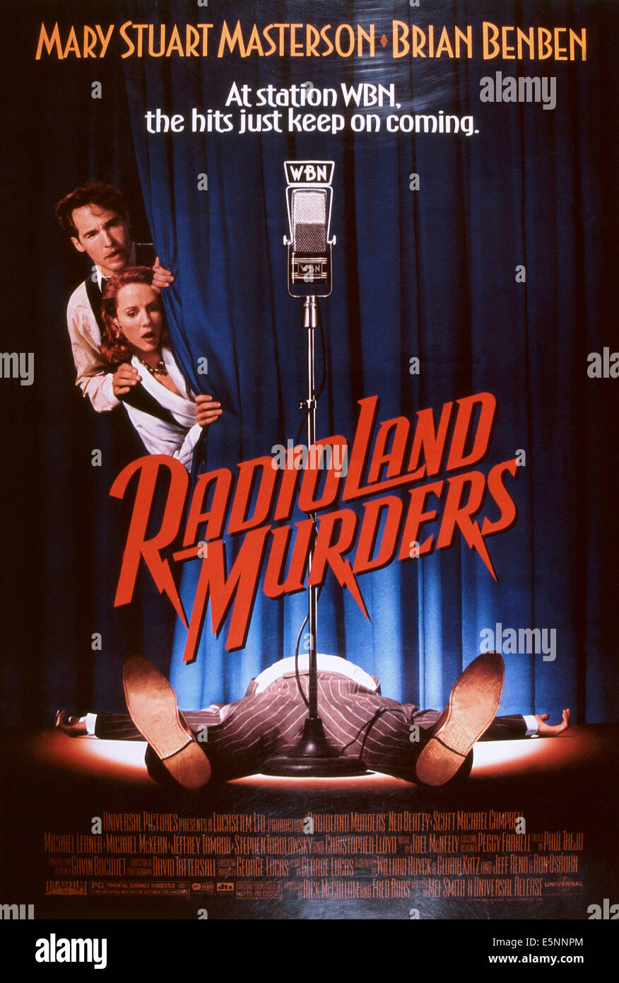 RADIOLAND MURDERS, US poster, from left: Brian Benben, Mary Stuart Masterson, 1994, © Universal/courtesy Everett Stock Photo