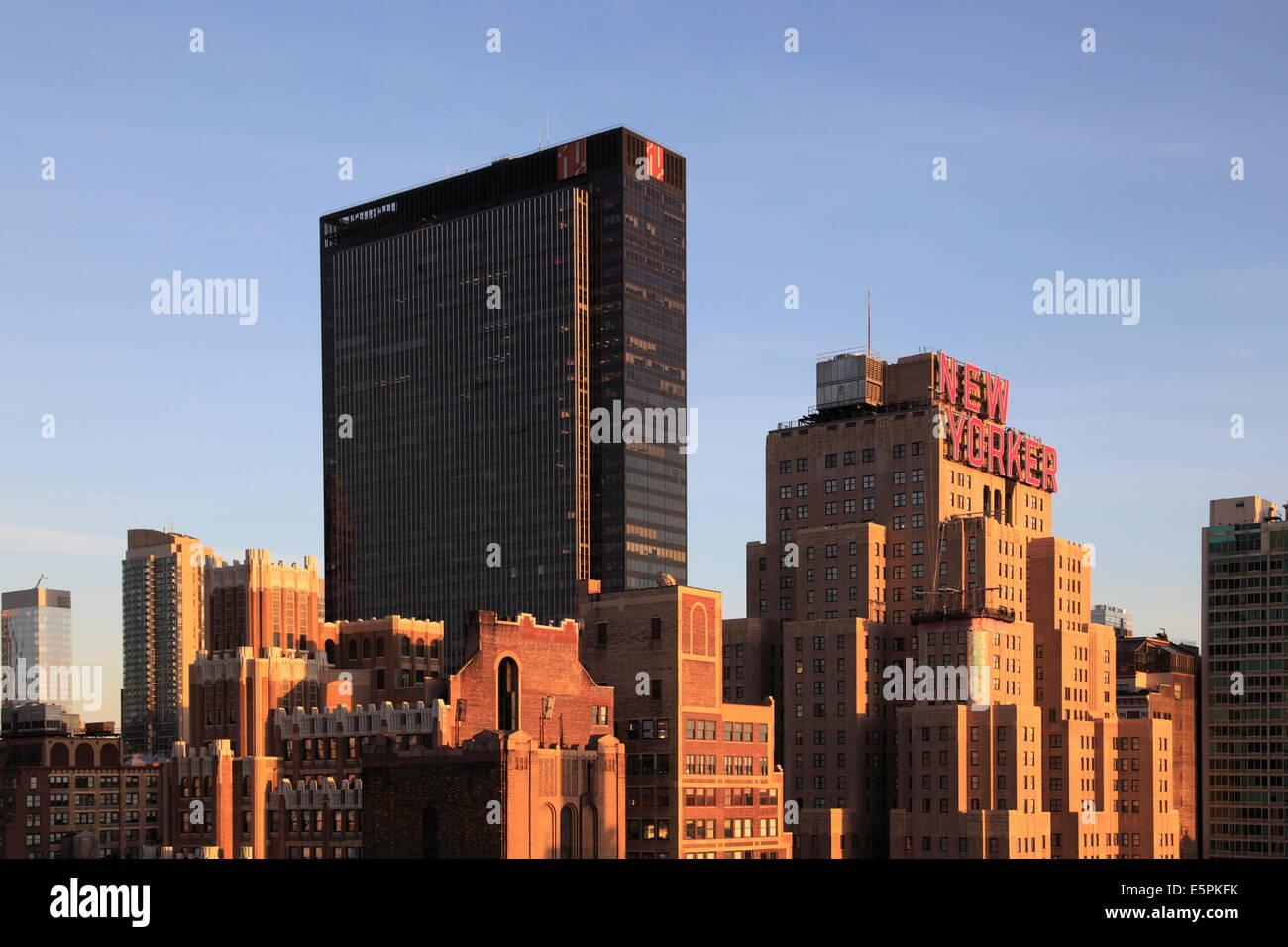 Madison Square Garden On Left New Yorker Hotel Midtown Skyline Stock Photo Royalty Free Image