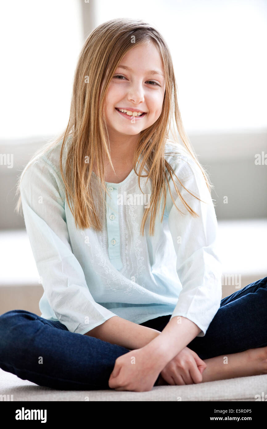 Smiling 9 Year Old Girl Stock Photo 72430461 Alamy
