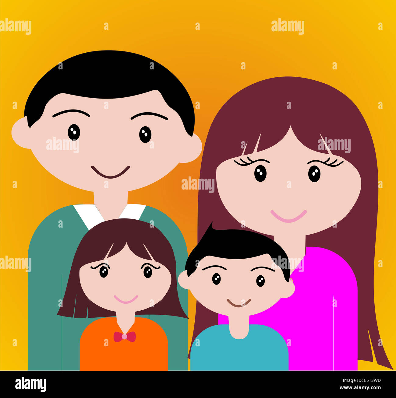 Four member of happy family portrait together. Stock Foto