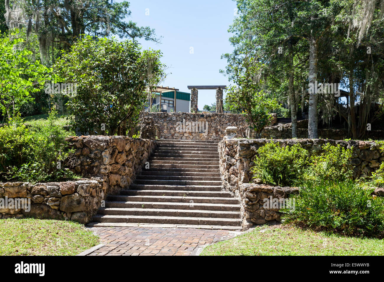 Tiered Landscaping With Stone Retaining Walls Flank Steps In The Stock Photo Royalty Free Image