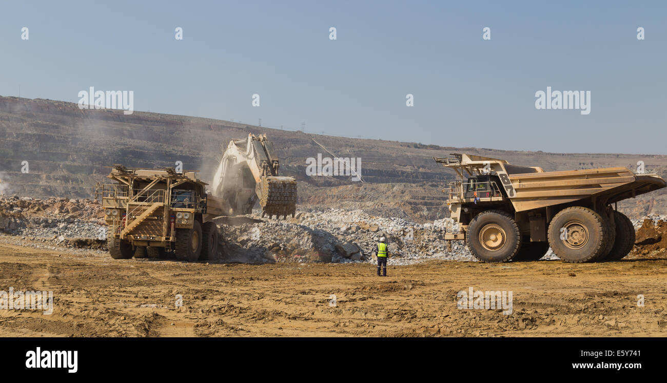 a supervisor directs hitatchi haul trucks being loaded ore by a supervisor directs hitatchi haul trucks being loaded ore by a massive liebherr excavator in an open cast copper mine