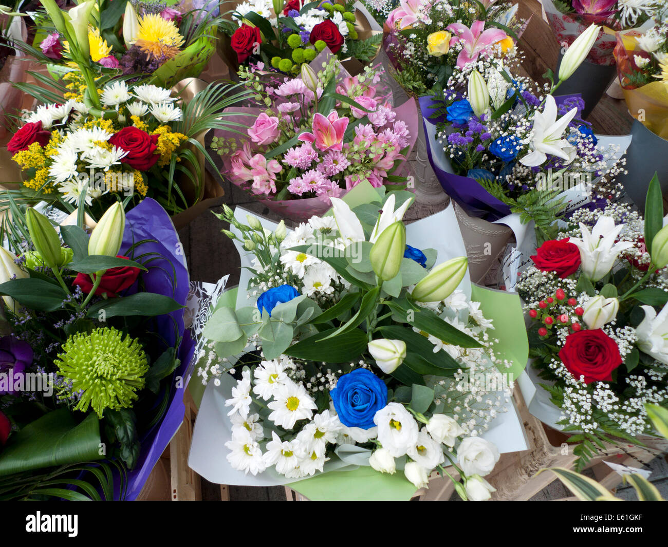 Mixed Summer Flower Bouquet With Roses Lilies