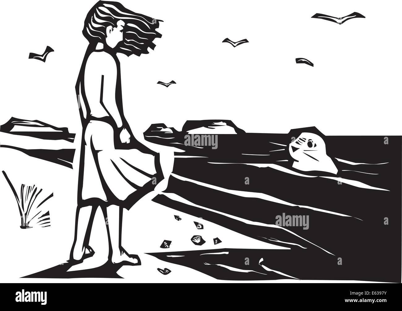 Woodcut style image of a girl on a beach watching a harbor seal in the waves. Stock-Vektorgrafik