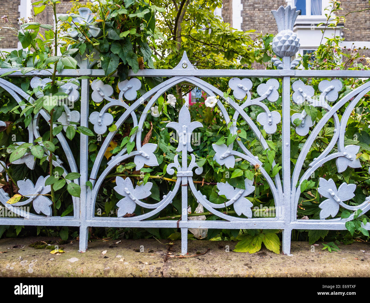 Decorative Wrought Iron Metalwork Fence With Floral Design Around Stock Photo 72746535 Alamy