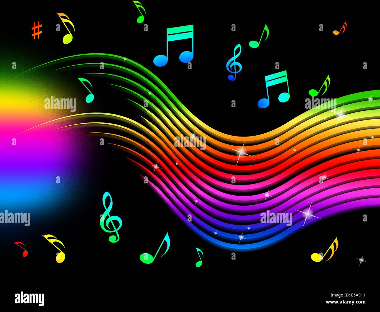 Rainbow Music Stock Images: Rainbow Music Background Meaning Colorful Lines And Melody