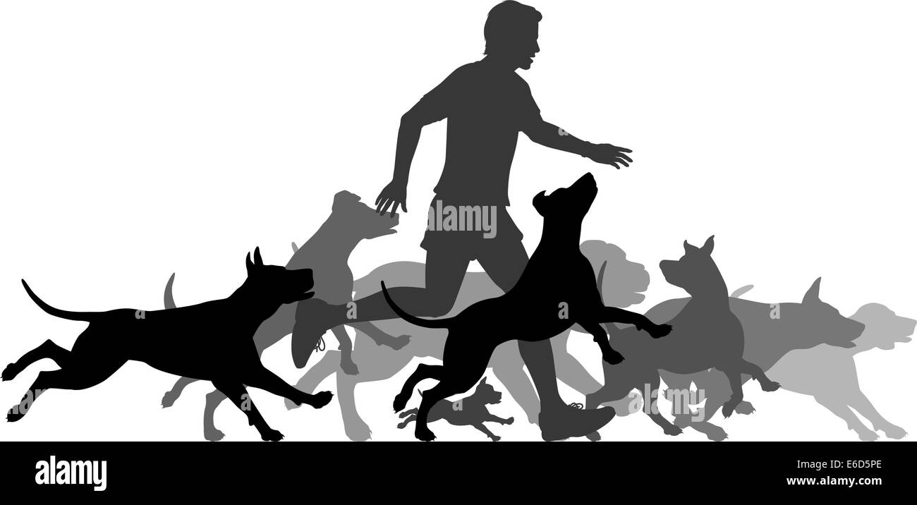 Editable vector silhouettes of a man and pack of dogs running together with all elements as separate objects Stock-Vektorgrafik