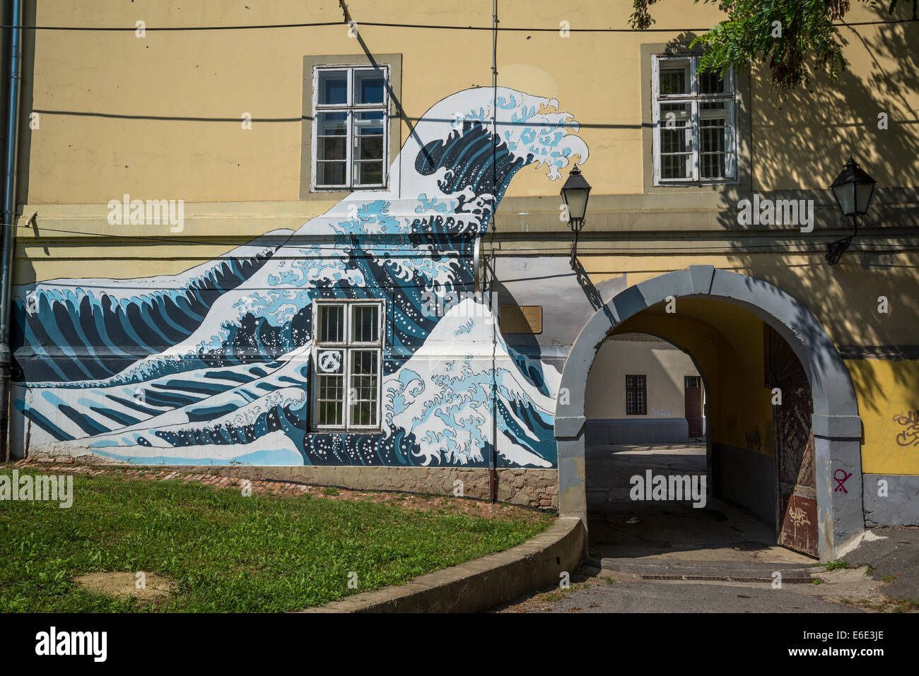 Hokusai Wave painted at the entrance of Grammar School, Tvrdja, Osijek, Slavonia, Croatia Stock Photo