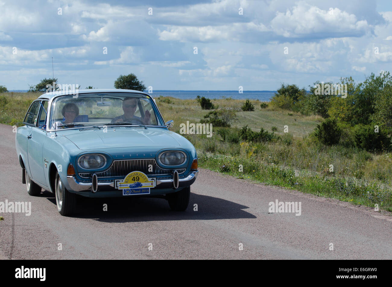 ford taunus 17 mts 1964 in oldtimer rally in sweden stock photo royalty free image 72899372. Black Bedroom Furniture Sets. Home Design Ideas