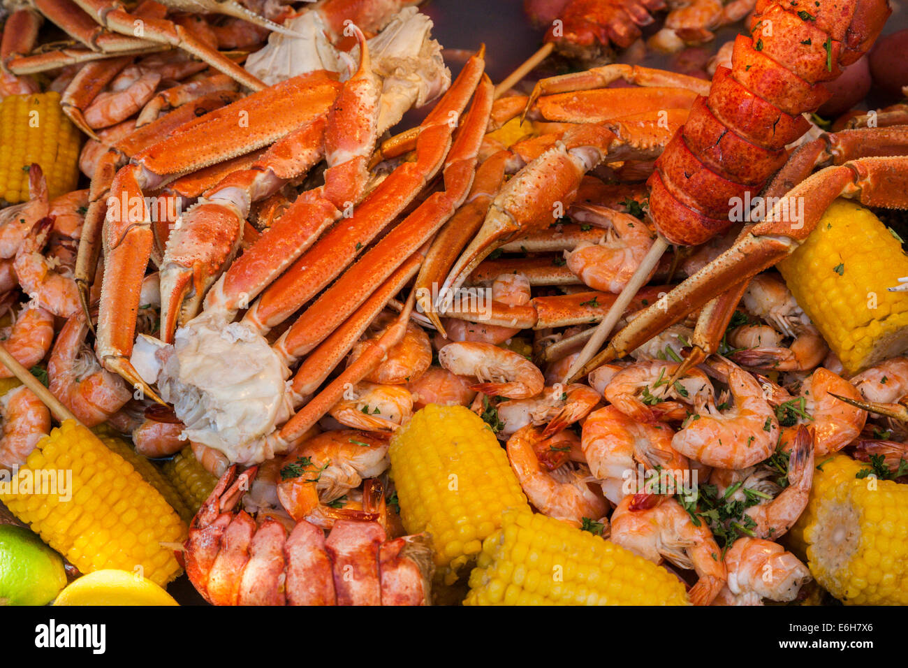 Cajun seafood low country boil with corn, shrimp and crab ...