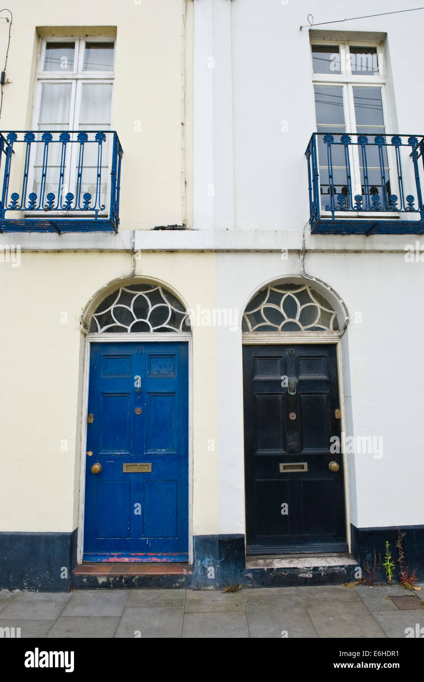 Blue Amp Black Wooden Front Doors Of Period Terraced Houses
