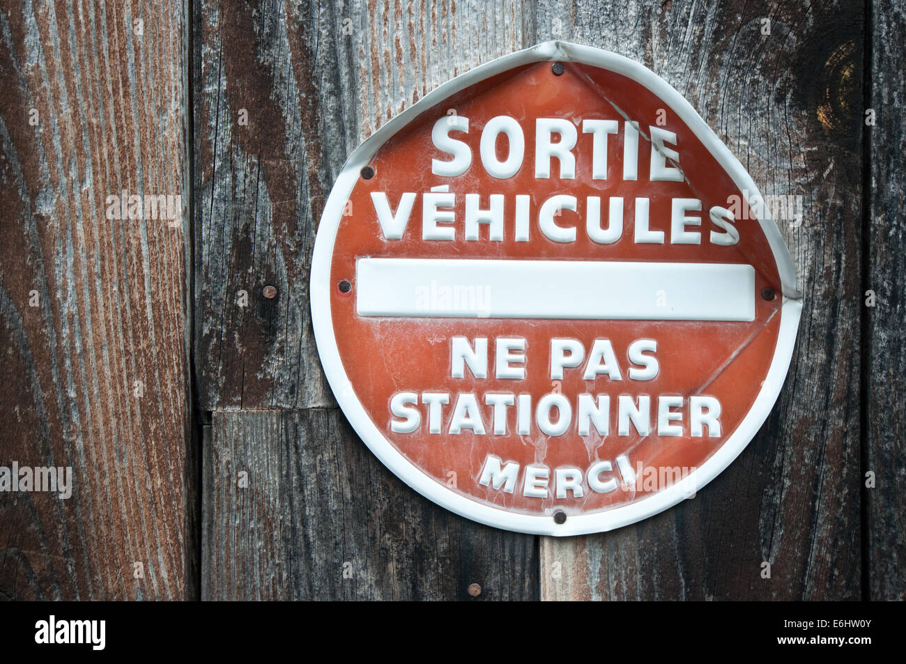 French no car parking signal Stock Photo