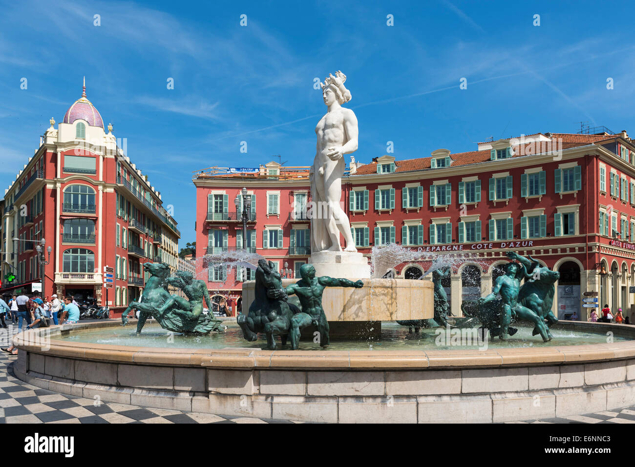 Fontaine du soleil fountain and statue of apollo in place massena stock photo royalty free - Place massena nice ...