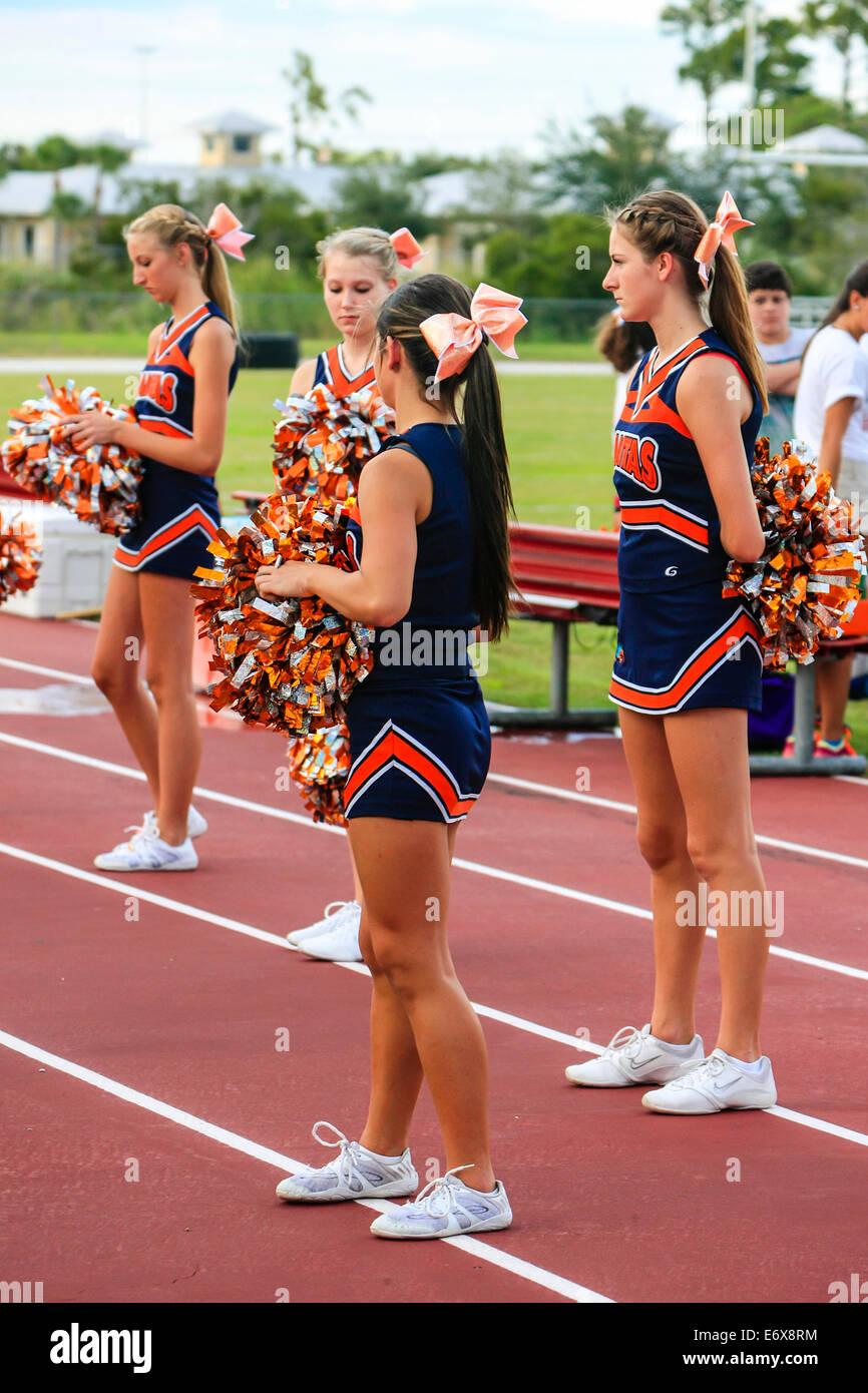 Junior Varsity High School female cheerleaders Stock Photo ...