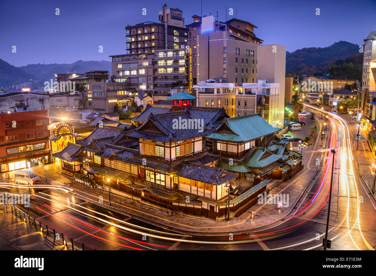 Matsuyama, Japan downtown skyline at Dogo Onsen bath house. Stock Foto