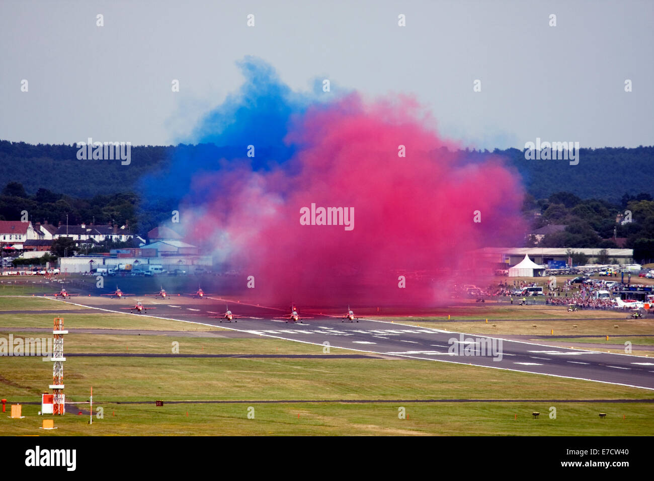 Red Arrows Royal Air Force Aerobatic Team getting ready for display during Farnborough International Airshow 2014 Stock Photo