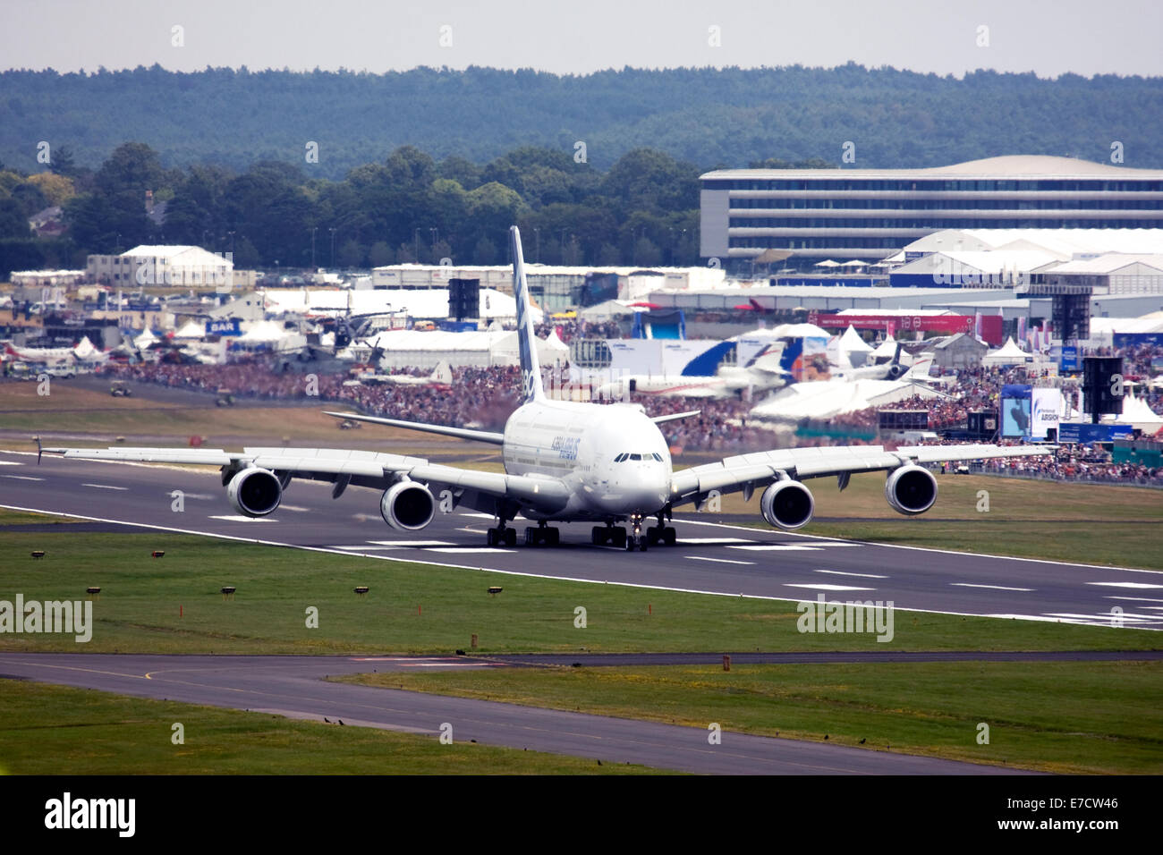Airbus A380-841 at Farnborough International Airshow 2014 Stock Photo