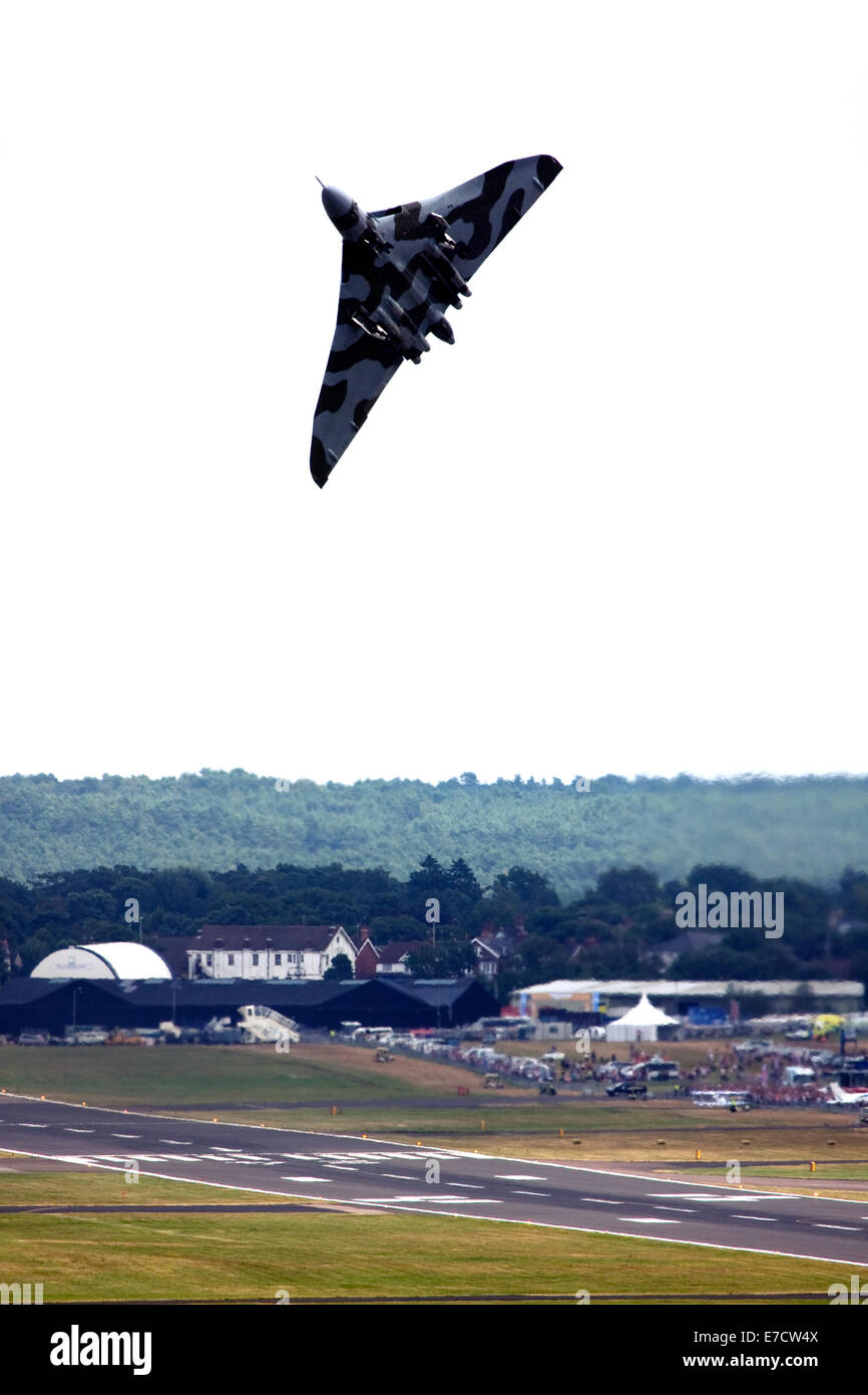 Avro 698 Vulcan B2  strategic bomber taking off at Farnborough International Airshow 2014 Stock Photo