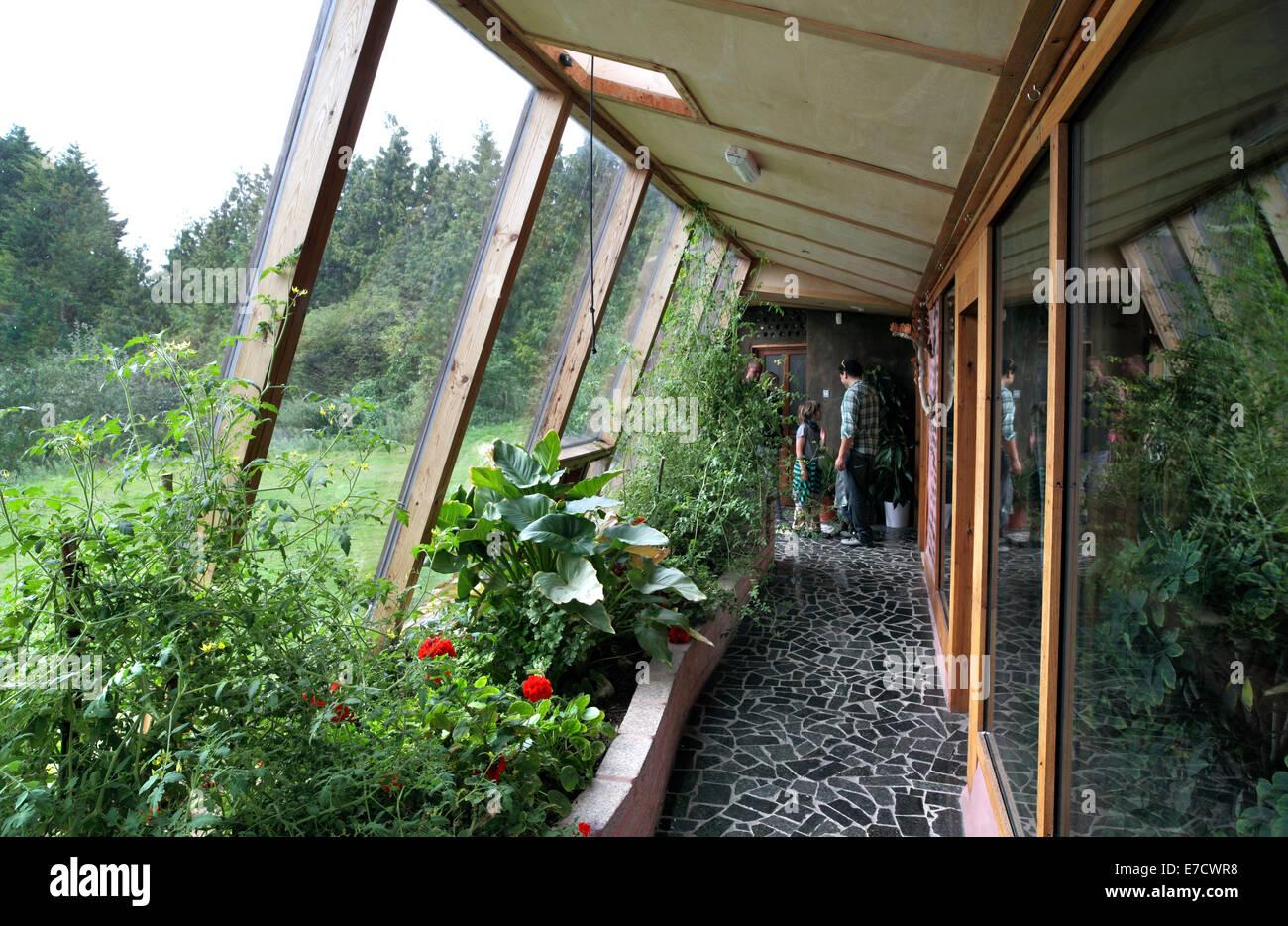 Stock Photo Inside The Brighton Earthship Showing Passive Solar Glazing Stanmer 73427740 on Passive Solar Design House Plans
