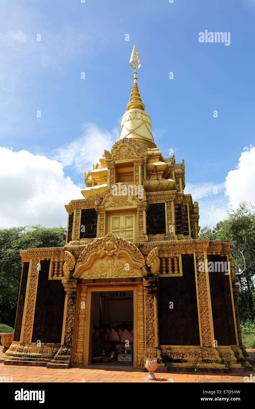 Golden stupa at Phnom Pros temple near Kampong Cham ...