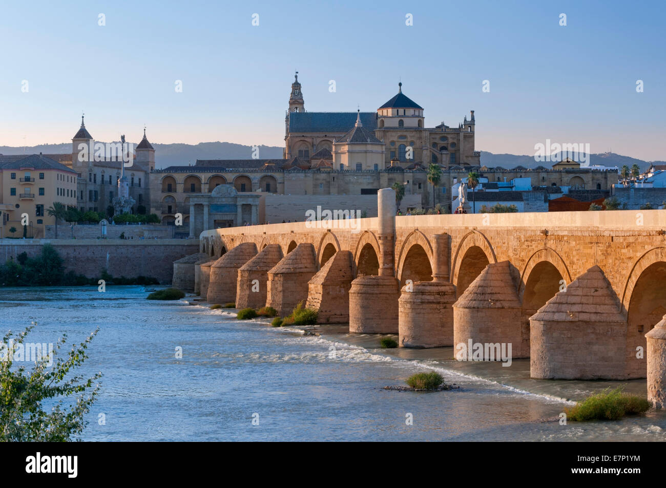 Puente Romano Roman Bridge and Mezquita Cordoba Andalusia Spain Stock Photo, ...