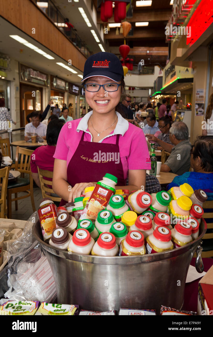 Stock Photo - Vietnamese-American, adult woman, food court, Asian Garden Mall, city of Westminster, Orange County, California, United States