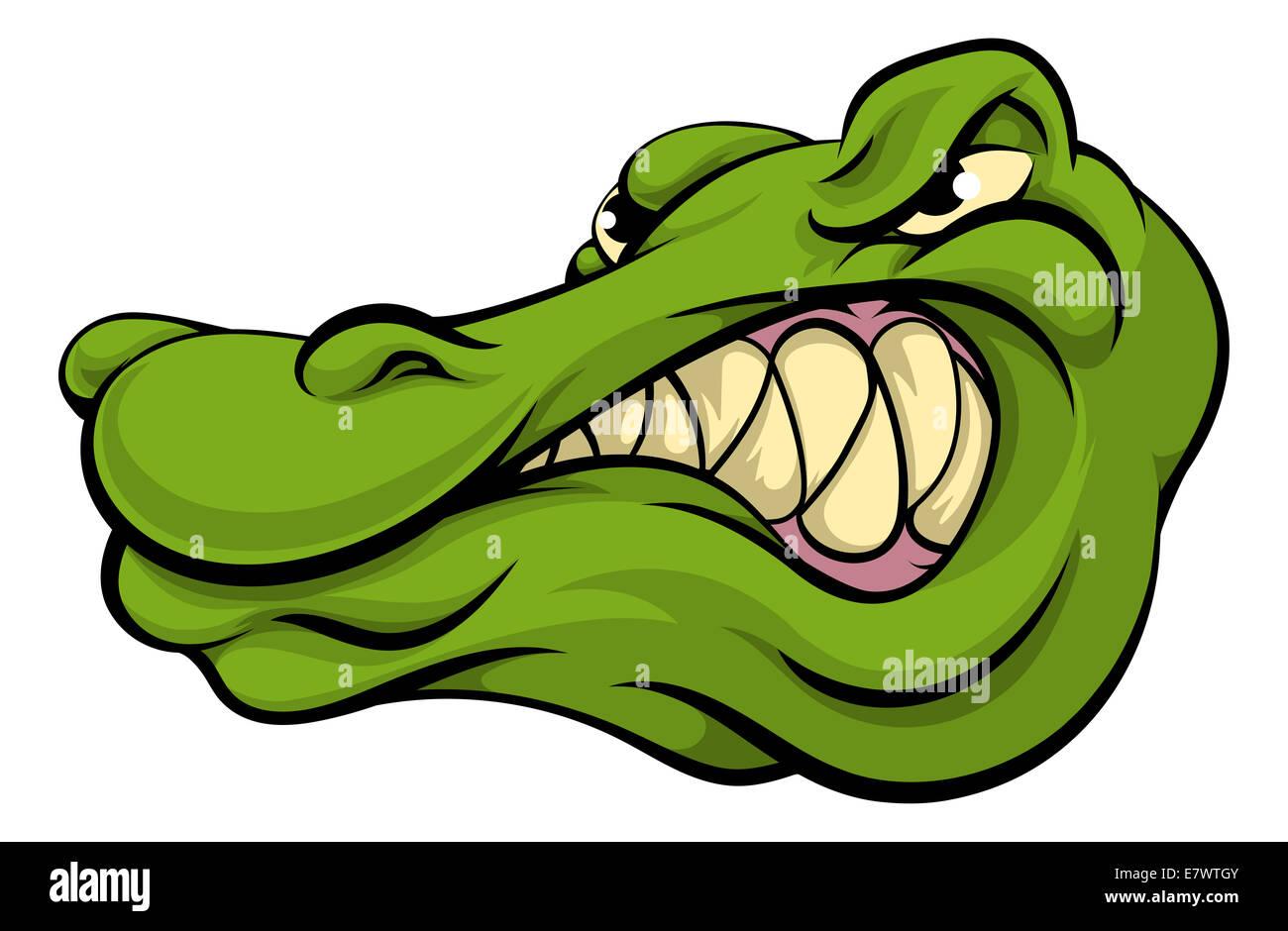 a crocodile or alligator cartoon character sports mascot