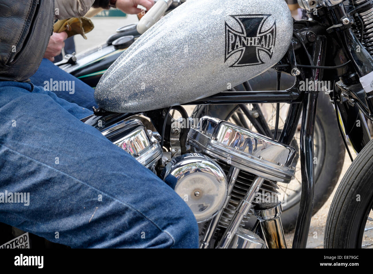 close up of custom harley davidson motorcycle panhead engine detail stock photo  royalty free