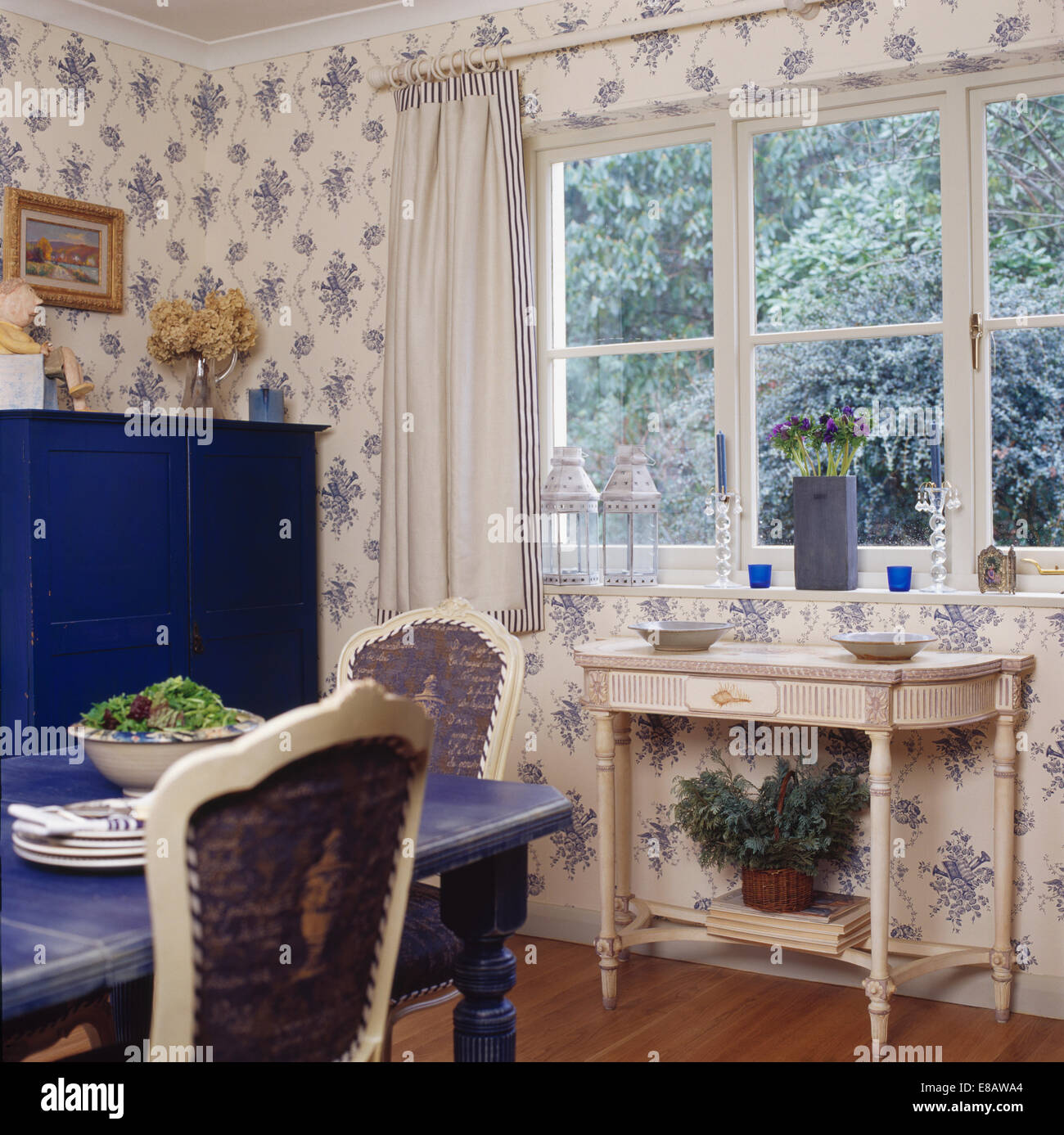 Dining Room Consoles: White Painted Console Table Below Window In Country Dining