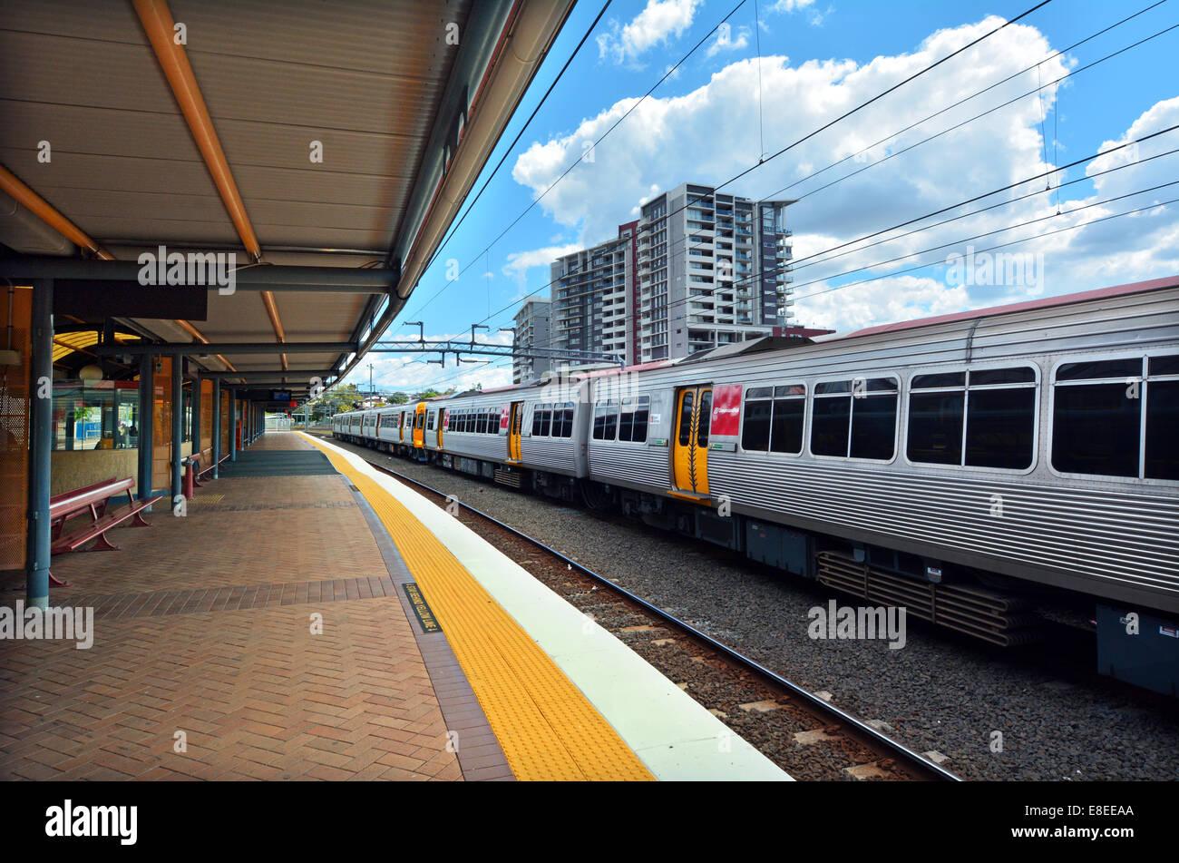 Queensland Rail in Roma Street railway station in Brisbane, Queensland, Australia Stock Photo