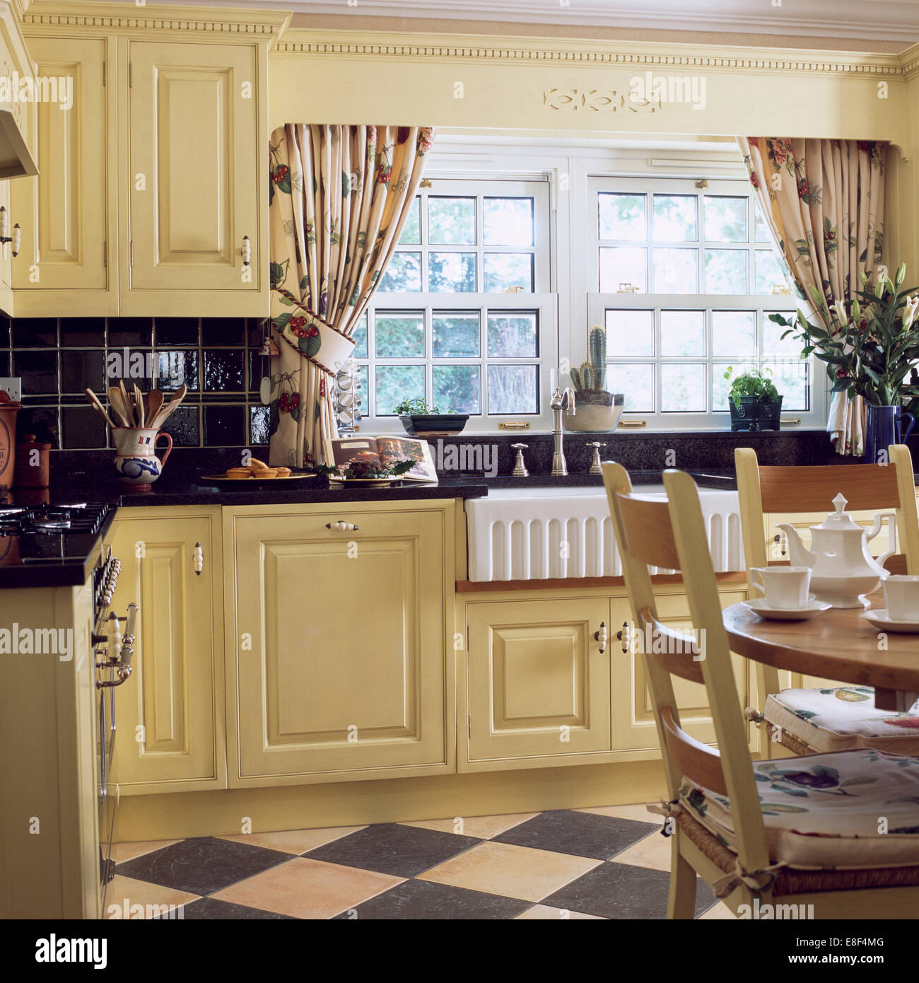 Patterned Curtains On Window Above Butler's Sink In Cream