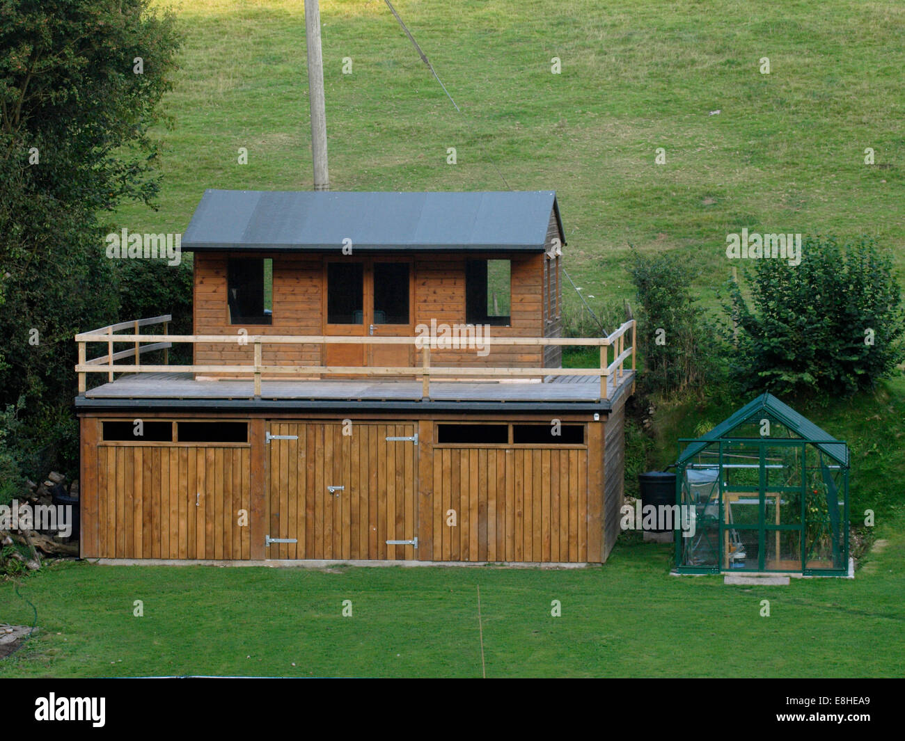 Two Storey Shed With Balcony Devon Uk Stock Photo